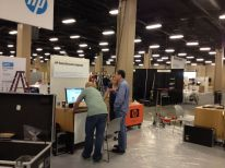 A few more HP team members working to get ready for the show. In the blue shirt is Amir Gaash, who is a Program Manager for HP