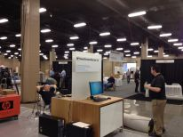 The HP team getting their booth set up