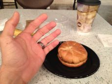This really ticked me off. $5.99 for this little sandwich. I put my hand in the picture for relative size.