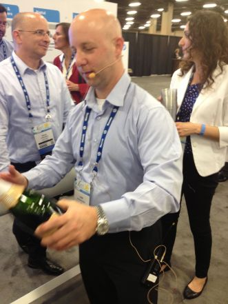 Lior of HP getting ready to toast the integration.