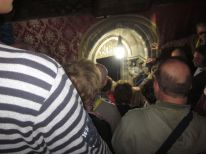Lots of people were waiting to get to the area where Mary is said to have given birth.