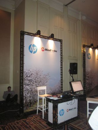 Another shot of our booth; the monitor was loaned to me by Amir from HP -- thanks Amir!