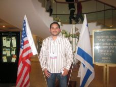 Since Obama is in town, there are a lot of US and Israeli flags. Here I am!